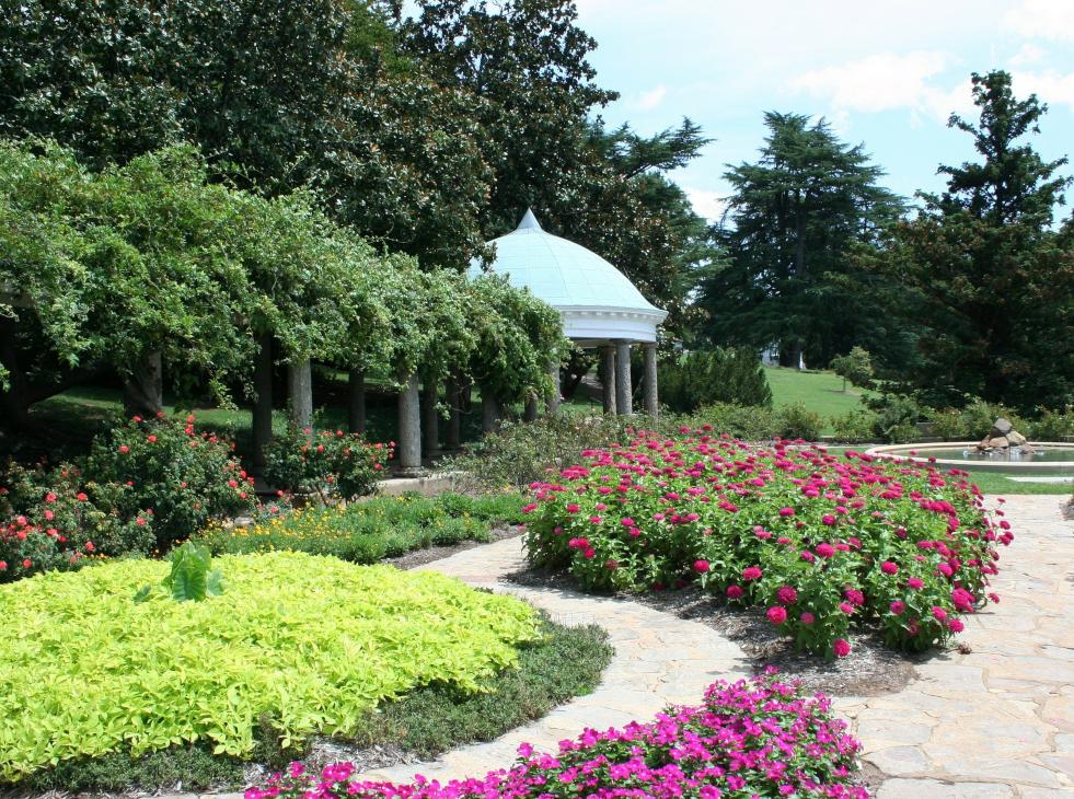 Trädgård med anlagd gångväg